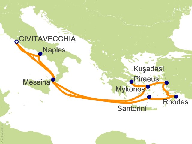10 Night Eastern Mediterranean Cruise from Civitavecchia (Rome)