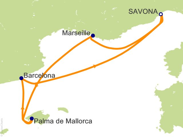 4 Night France  Balearic Islands  Spain Cruise from Savona
