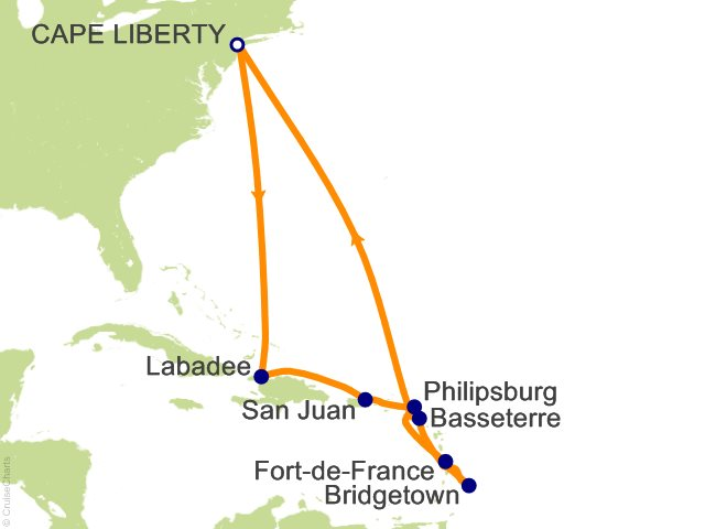 12 Night Southern Caribbean Cruise from Bayonne (Cape Liberty)