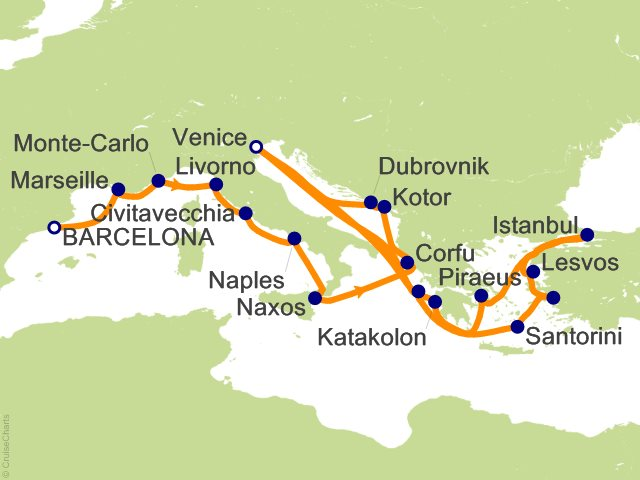 24 Night Magic of the Mediterranean Cruise from Barcelona