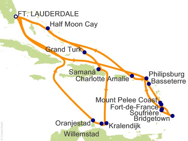 21 Night Southern Caribbean Seafarer/Wayfarer Cruise from Fort Lauderdale