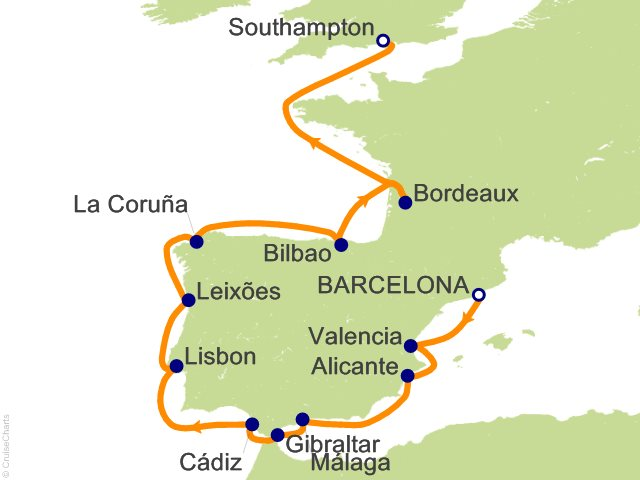 14 Night Barcelona to London (Southampton) Cruise from Barcelona