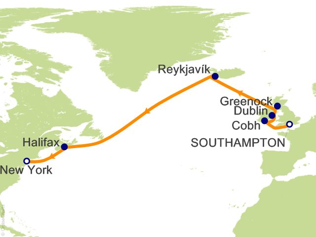 13 Night World Cruise Segment   London to New York Cruise from Southampton
