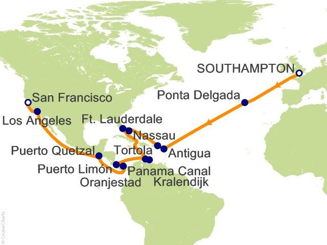 30 Night Southampton to San Francisco Cruise from Southampton