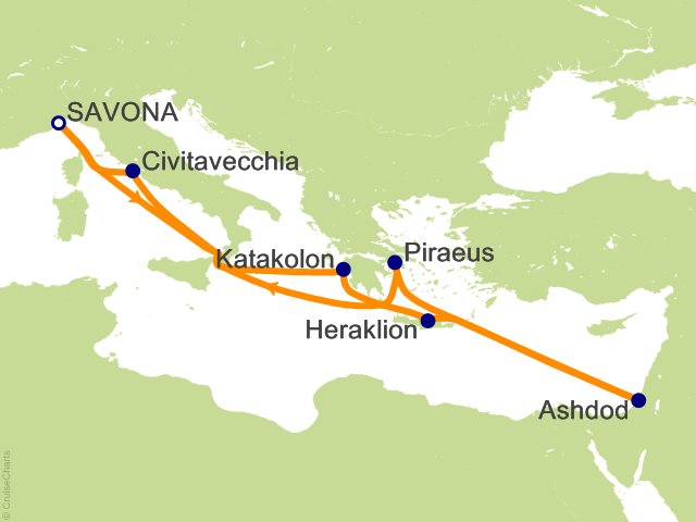 11 Night Italy  Greece  Israel Cruise from Savona