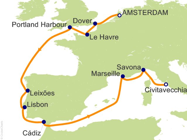 11 Night Netherlands  UK  Portugal  Spain  France Cruise from Amsterdam