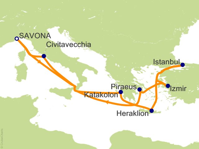 11 Night Italy  Greece  Turkey Cruise from Savona