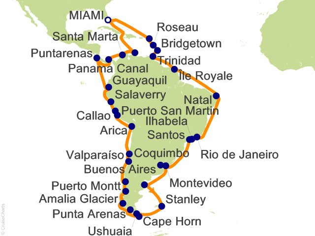 Night Grand South America Cruise On Ocean Princess From Miami - Cruise to south america