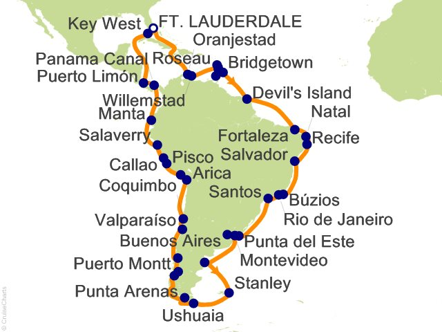 Night Grand Voyage Circle South America Cruise On Silver - Cruise to south america