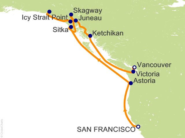 12 Night San Francisco to Vancouver Cruise from San Francisco